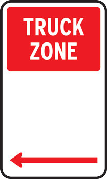 Truck zone parking sign