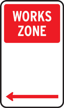 Works zone parking sign