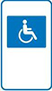 Example of an accessible parking sign, showing a stylised wheelchair symbol in blue on a white background.