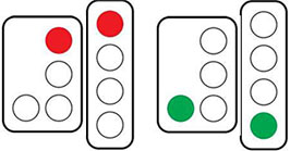 Left image showing red only lights, right image showing green only lights.