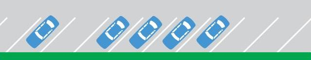 Diagram of angle parking - cars are parked at a 45 degree angle against the kerb and within the marking lines.