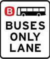 Example of a bus only lane sign.