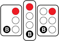 Image showing red traffic light with white B light.
