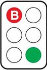 Image showing green light with red B light