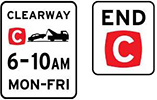 Example CLEARWAY and END Clearway signs. Hours of operation are shown in black text on a white background.