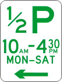 1/2 P means you may park at the kerb for 30 minutes during the times displayed on particular days