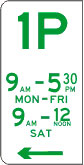 1P means that you may park at the kerb for one hour during the times displayed on particular days