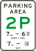 2P means you may park at the kerb for two hours during the times displayed on particular days
