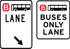 Bus lane sign and buses only lane sign