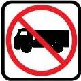 NO TRUCKS road sign