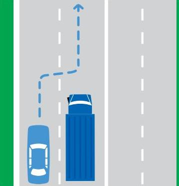 Diagram showing a car overtaking to the left of a large vehicle when it is safe to do so.