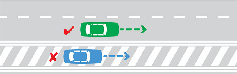You must not drive on a section of painted road that is surrounded by double lines.