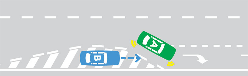 When you enter a turning lane from a painted island you must give way to any vehicle already in the turning lane or entering the turning lane