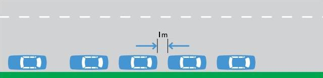 Diagram of parallel parking - cars are parked along the kerb in the same direction, and at least 1 metre away from each other.