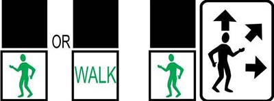 Left image showing traffic light with green man or 'walk' lights. Right image showing sign with green man and multiple arrows.