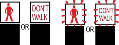 Left image showing traffic light with red man or 'dont walk' lights. Right image showing traffic light with flashing red man or flashing 'dont walk'.
