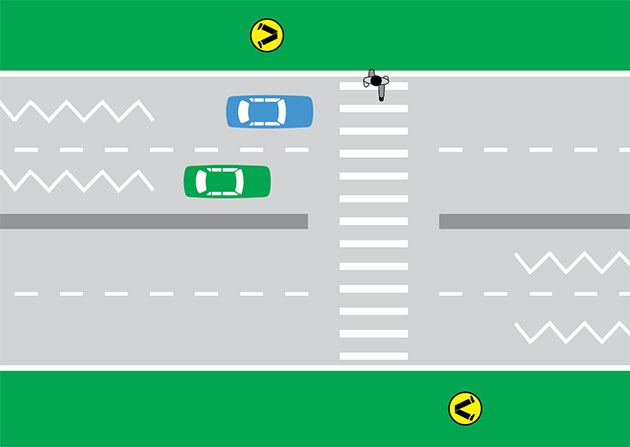 Diagram of cars at a pedestrian crossing as a person walks across. The white zig zag lines on the road indicate that a crossing is ahead.