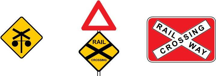 Railway crossing sign with and without traffic lights ahead