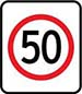 Speed sign showing '50' inside a red circle