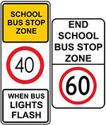 Image showing two types of school bus stop zone signs.