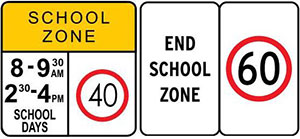 Image showing two types of school zone signs.