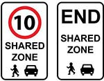 Image showing two types of shared traffic zone signs.