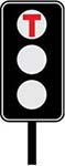 T signals are special signals for light rail vehicles. These traffic lights display the letter T.