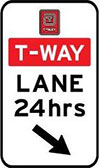 Example of a T-way lane sign.