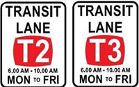 Example signs - T2 and T3 transit lanes.