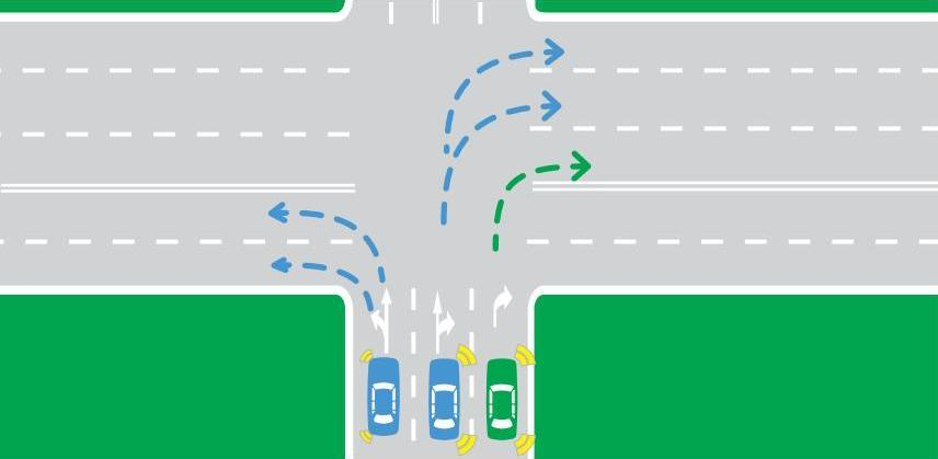 You can turn into either lane, depending on traffic