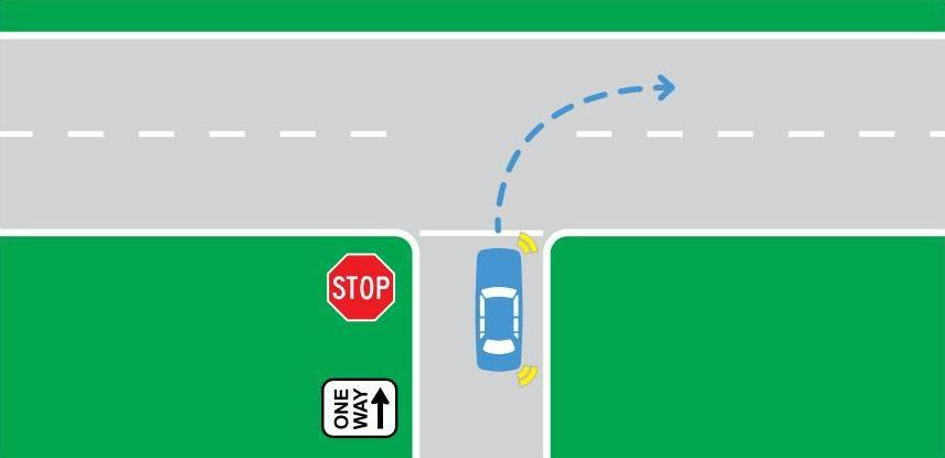Turning from a one-way street
