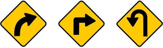 Showing three signs: Road ahead curves to the right, there is a sharp right turn ahead and sharp bend to the left ahead.