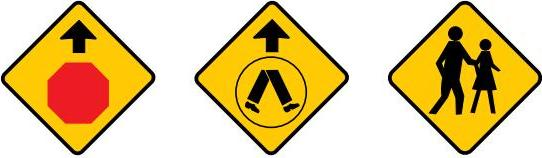 Showing three signs: stop sign ahead, pedestrian crossing ahead and pedestrians may be crossing ahead.