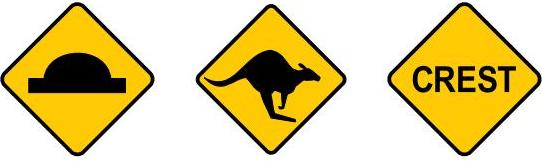 Showing three signs, hump in road ahead, look out for kangaroos and crest ahead.