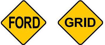 Showing two different signs: The road ahead is under water and grid ahead.