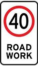 Image showing a road work speed limit sign.