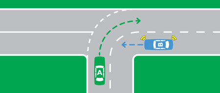 At a T intersection example of turning and continuing
