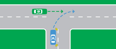 At a T intersection examples of turning