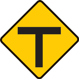 Approaching a T intersection sign