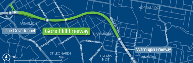 Gore Hill Freeway Map