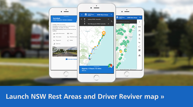 Click to launch the online Driver Reviver and rest areas map.