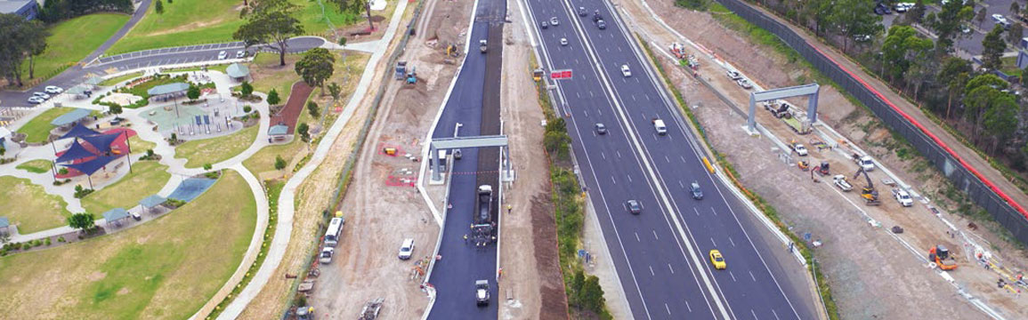 Construction progressing on the Belmore Road Ramps next to the M5 South-West Mot