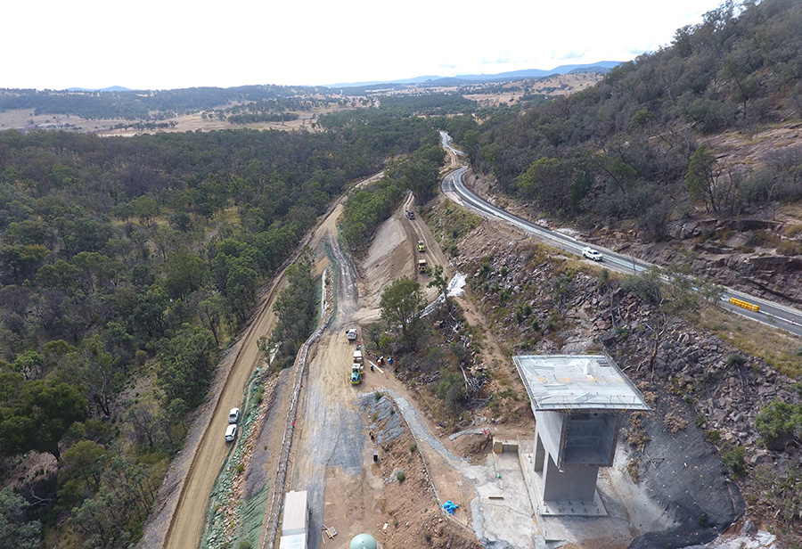 View of the Bolivia Hill upgrade, looking north, with pier two in the foreground (May 2020)