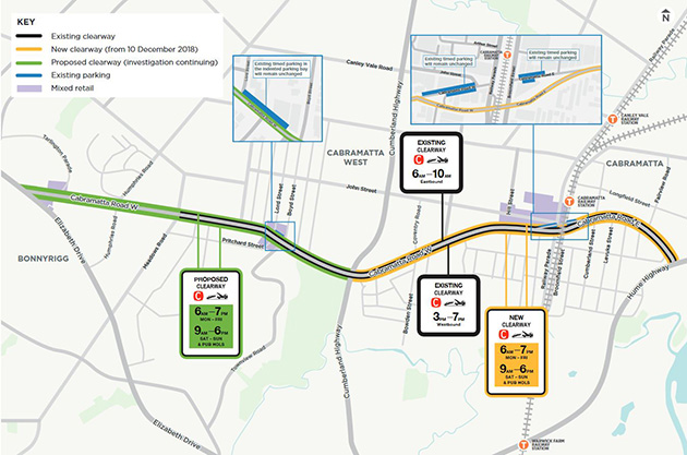 Map of clearways on Cabramtta Road between Cumberland Highway and Hume Highway, Cabramatta
