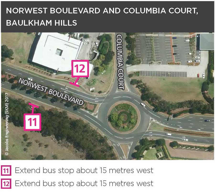 Changes to bus stops in Castle Hill and Baulkham Hills