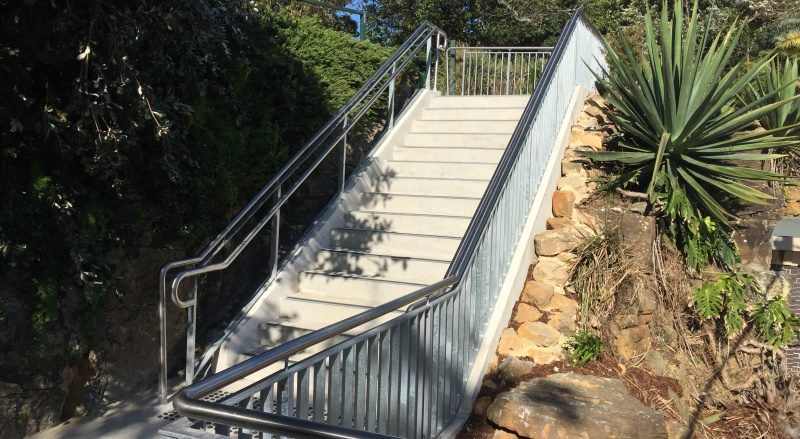 Upper section of the new Cremorne Point Wharf stairs