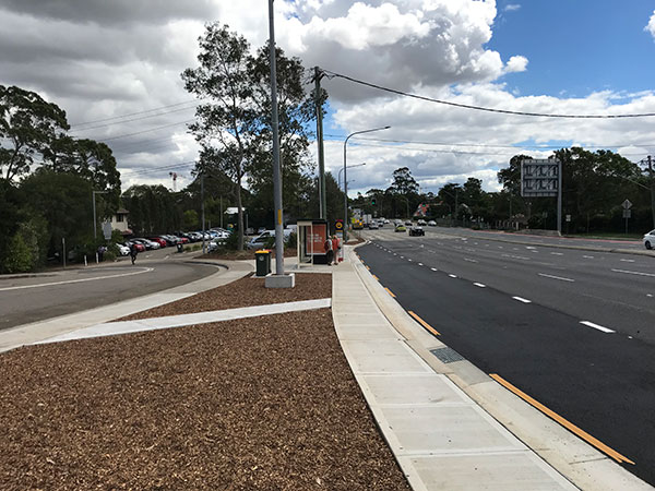 Windsor Road, Baulkham Hills – northbound bus bay extension at Torrs Street