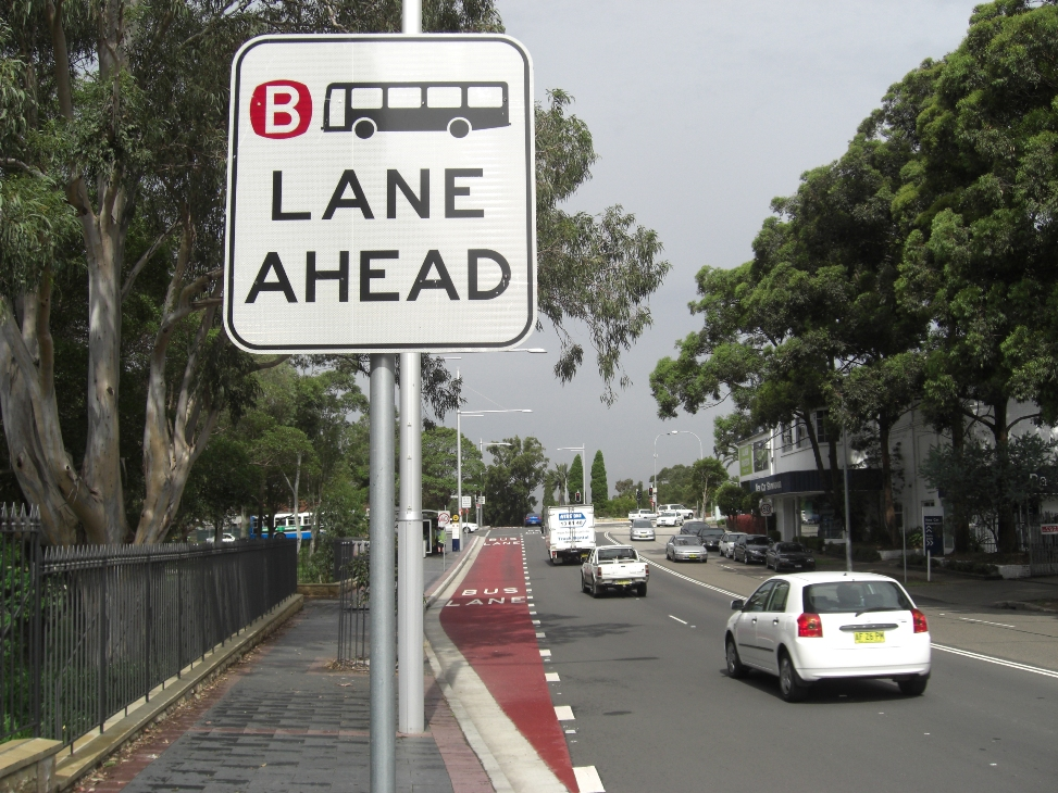Bus lane in Blaxland Road, Ryde on approach to Victoria Road