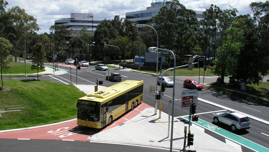 Bus only lane at the intersection of Talavera Road and Herring Road Macquarie Park