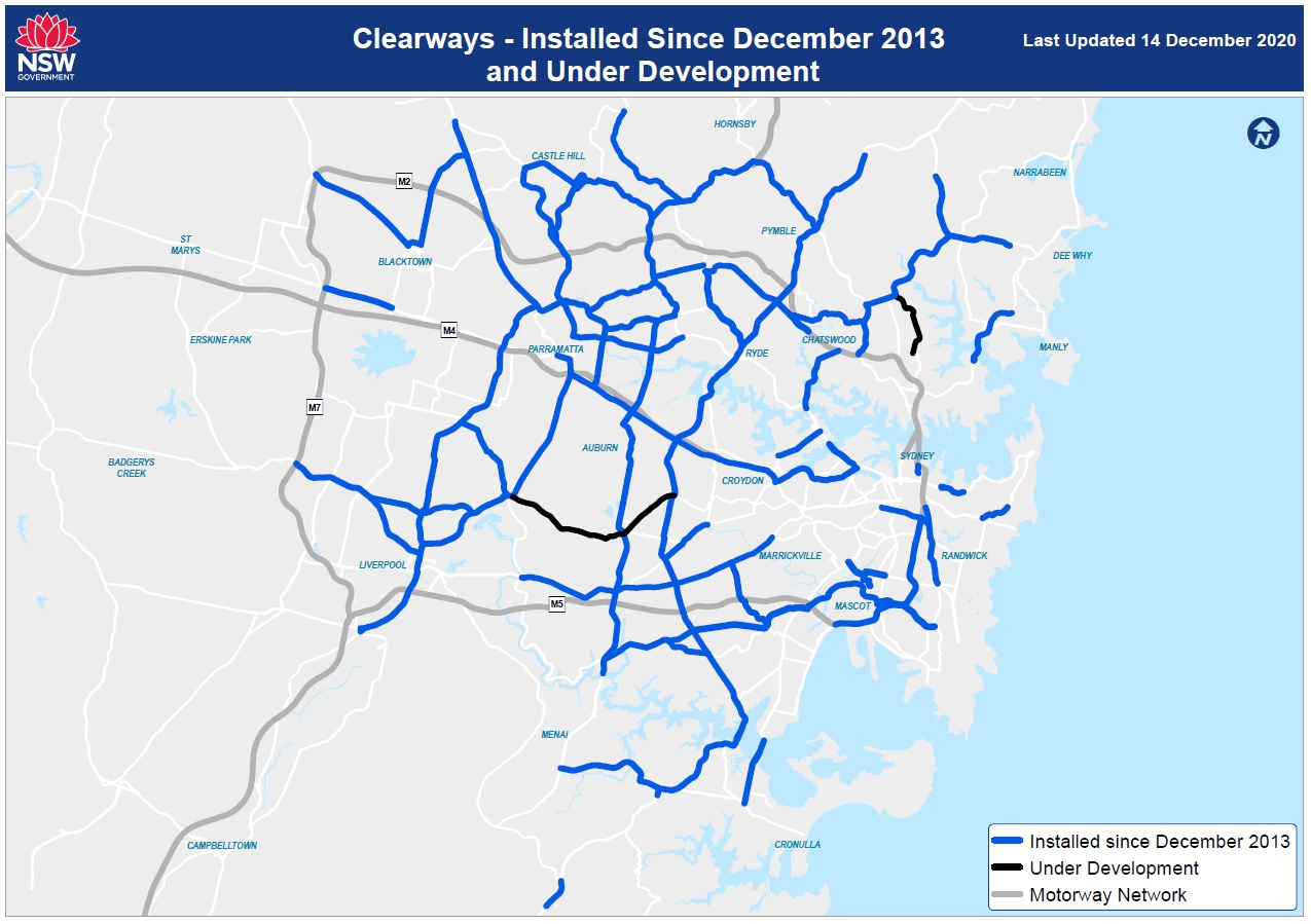 Sydney Clearways Strategy map